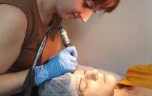 Перманентный макияж, процесс работы мастера, студия Салем